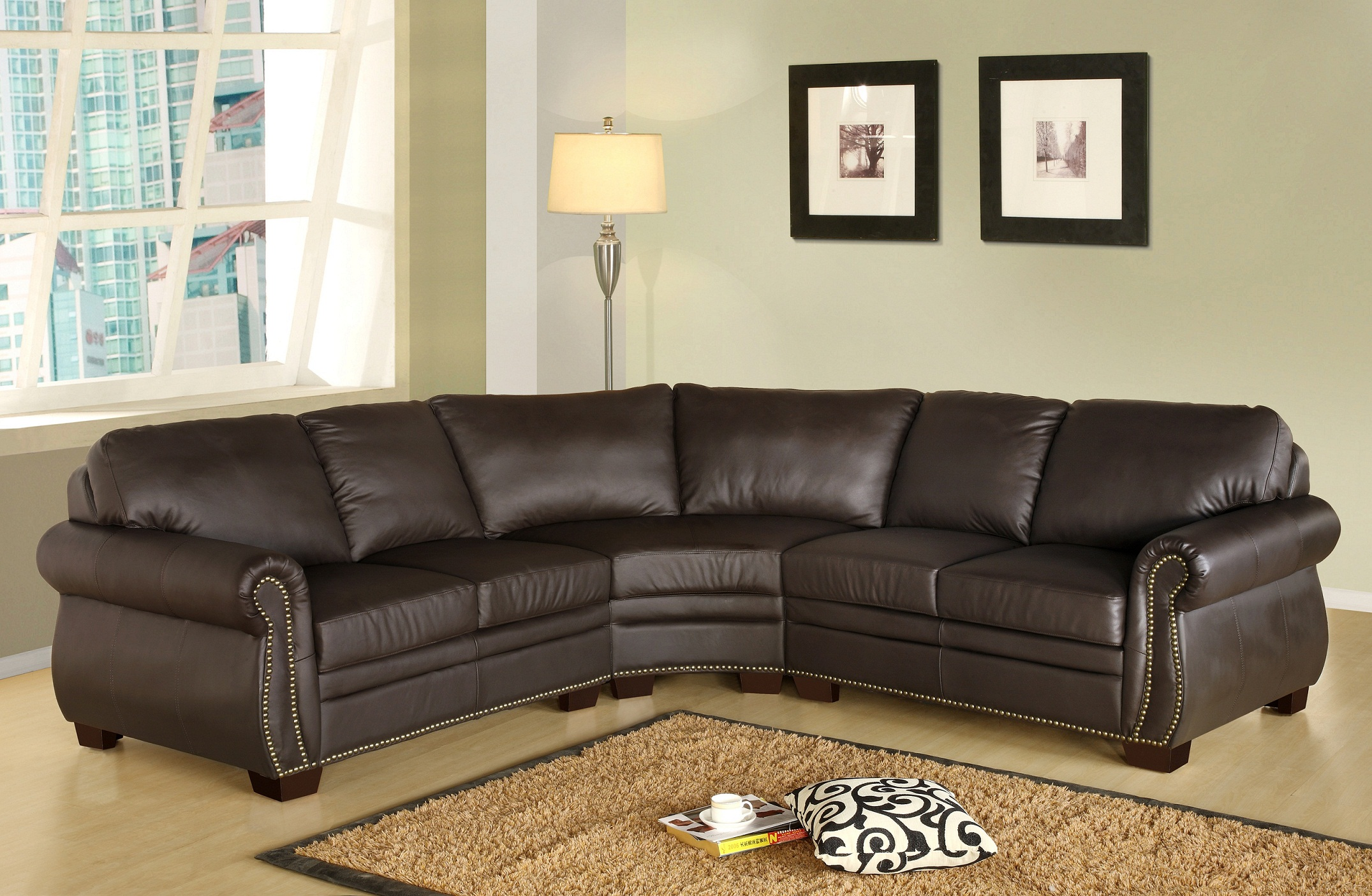 Simple Leather Sectional Brown Sofa Soft Rug