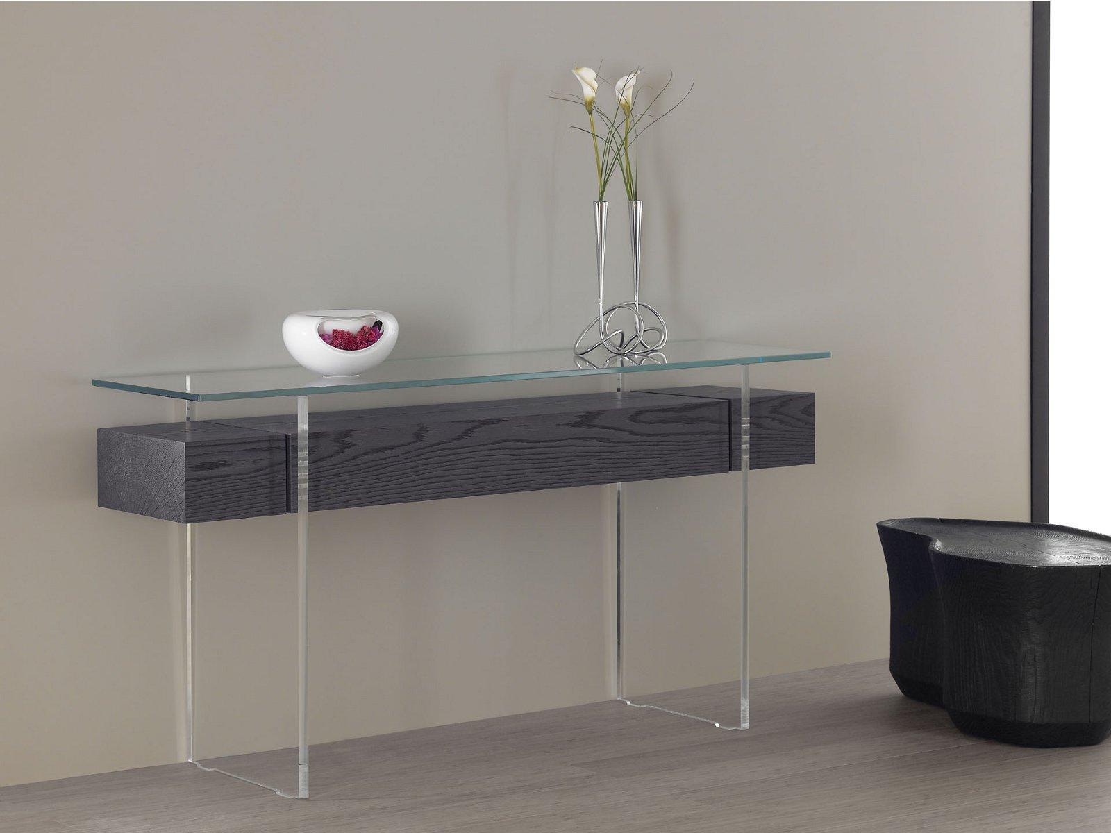 Simple Modern Wood Long Glass Console Tables Beautiful Decorative Flowers  Decorative White Vase Unique Balck Wood