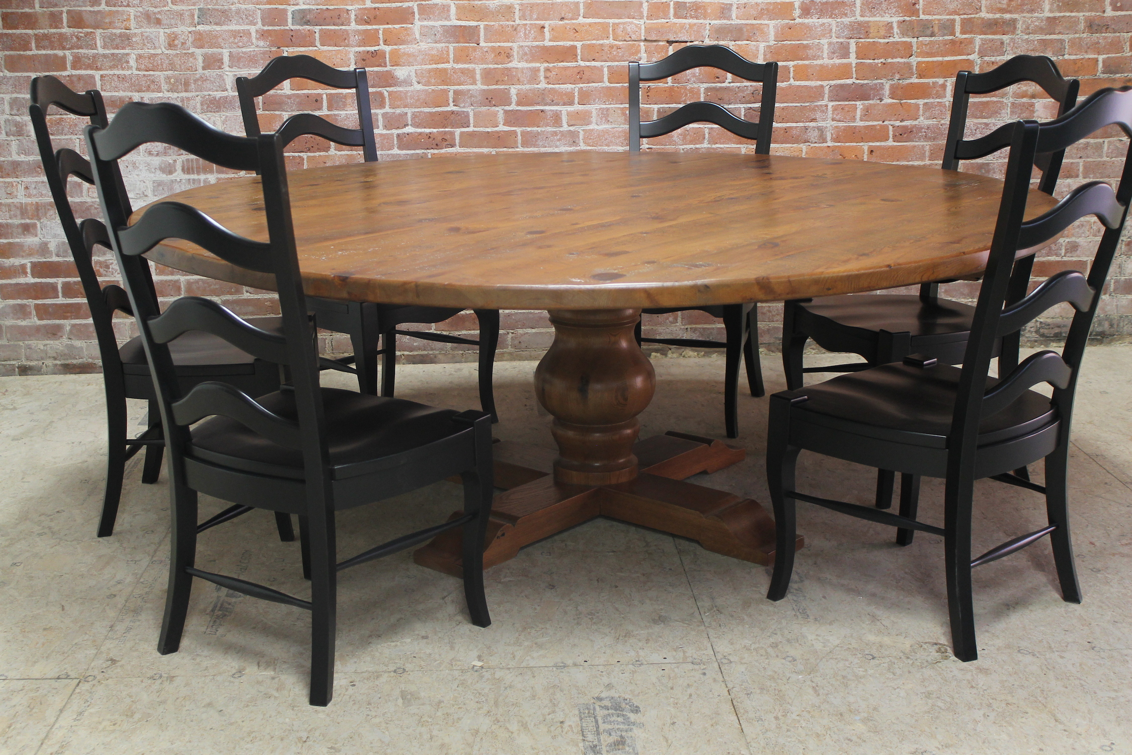 simple natural polished wooden round dining room table for 6 set black