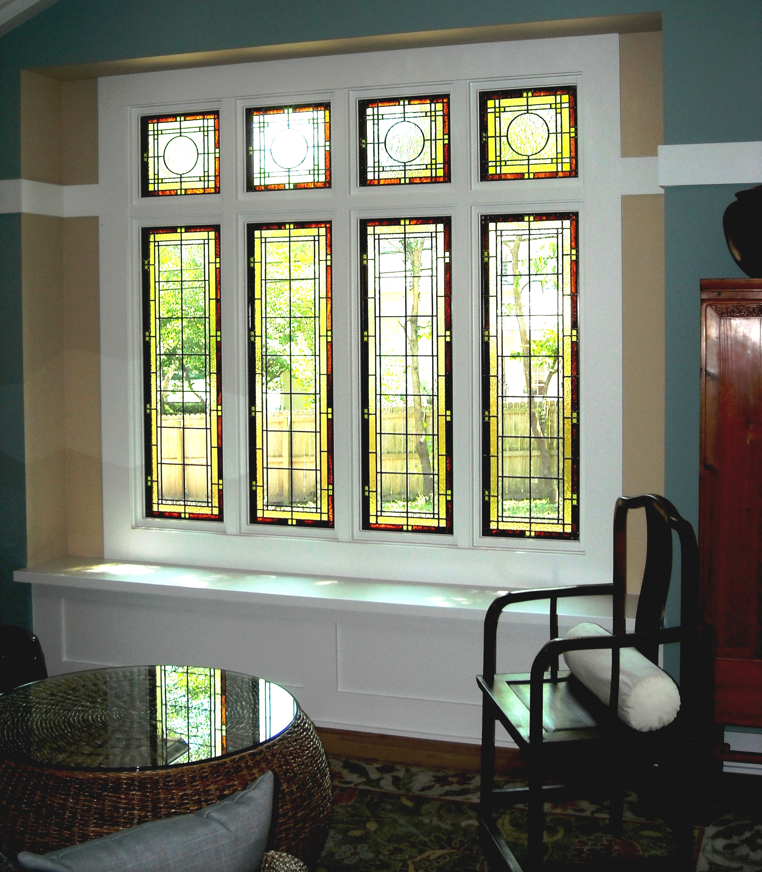 Simple Stained Glass Windows For Homes Living Room Wooden Furniture Top Wicker