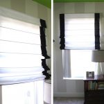 simple stylish black and white roman shades outside mount for modern bedroom  with two tones natural walls