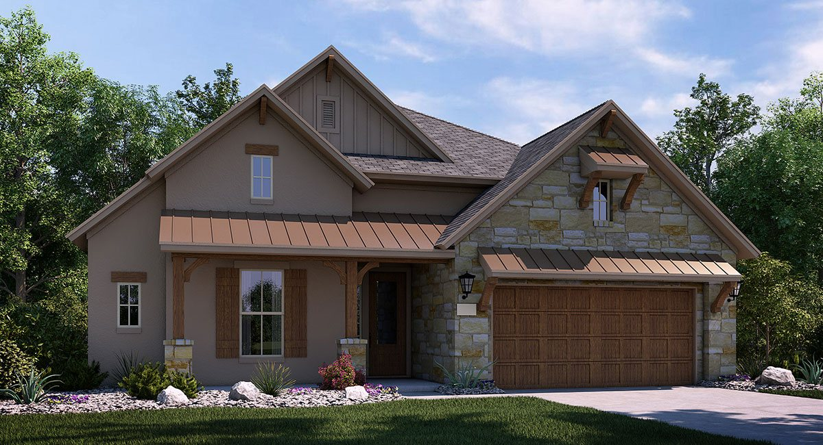 simple texas hill country house plans with brown painted wall and glass windows with shutters and