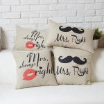 simple wedding gifts brown cute and funny cushions for mr and mrs decorated on sofas