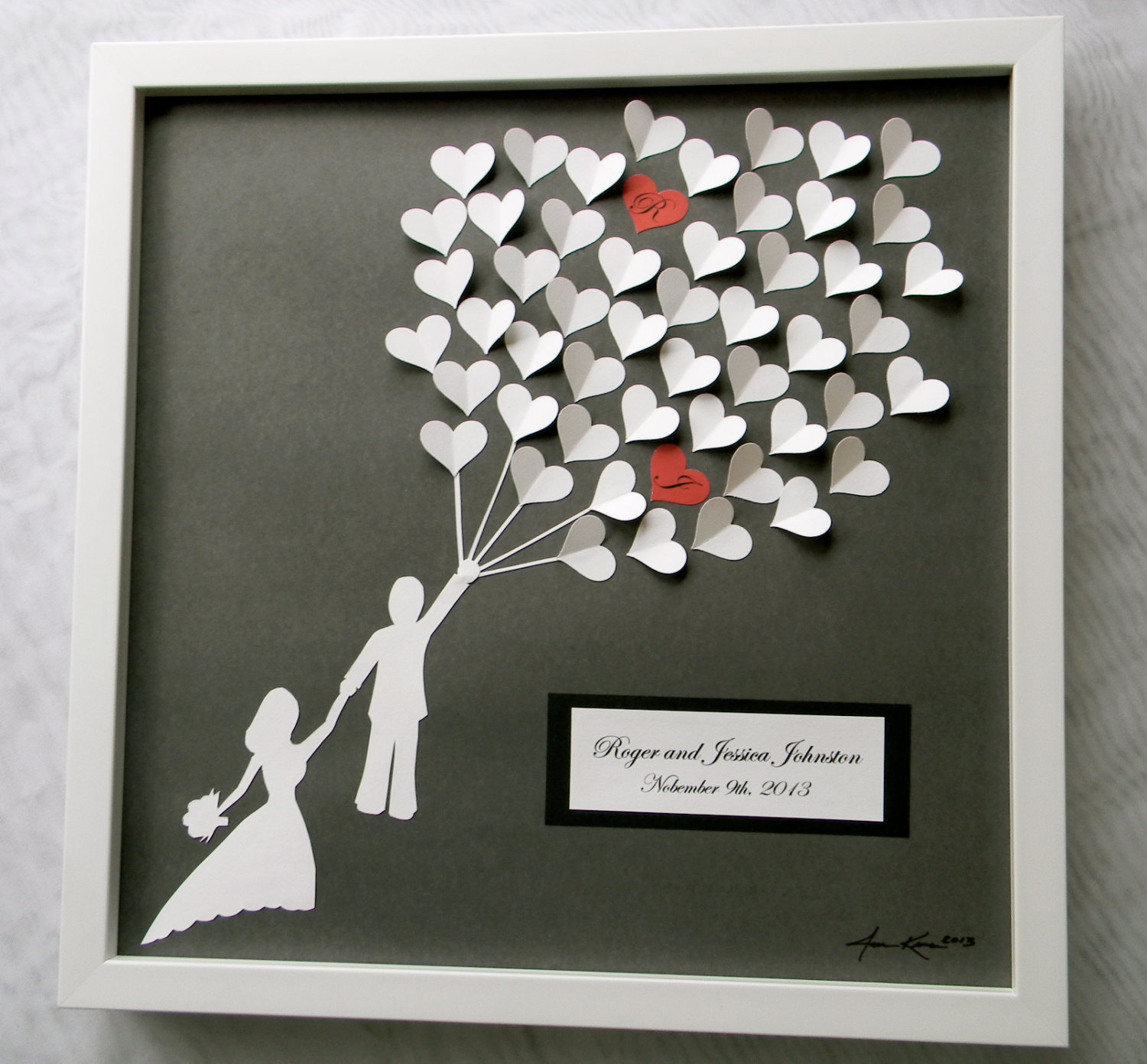 simple wedding gifts with hand made framed picture with captions and memorable arts