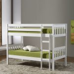 simple white bunk bed for small space with gray wall and gray fabric rug and wooden stairs and white pillow and green bedding