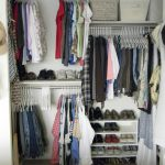 simple white closet organizer for small closet with shoes racks and storage bins and clothes hangers