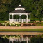 simple white gray wood gazebo kits with low walls beautiful flowers