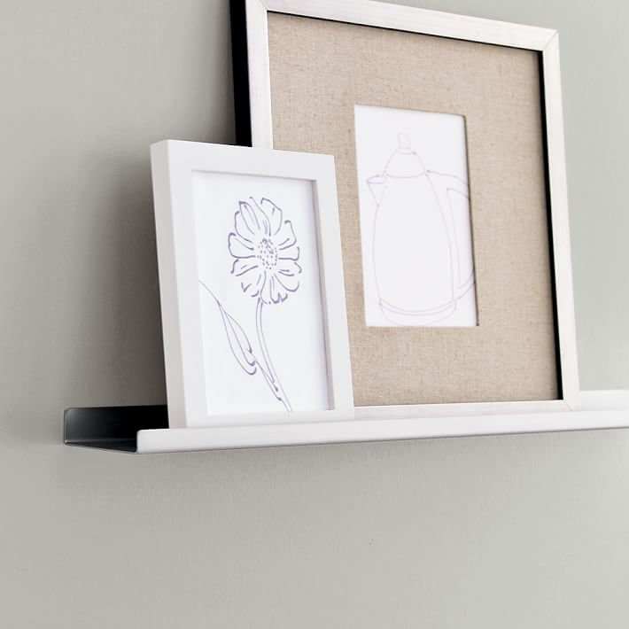 Deep Picture Ledge: Metal Picture Ledges Displaying Attractive Decorations In