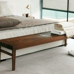 simple wooden benches for end of bed for clean look moodern bedroom with white color scheme