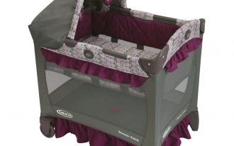 single small pack and play design in gray tone with purple sleeve accent and canopy and wheels