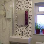 sink mirror shower bathroom wallpaper small