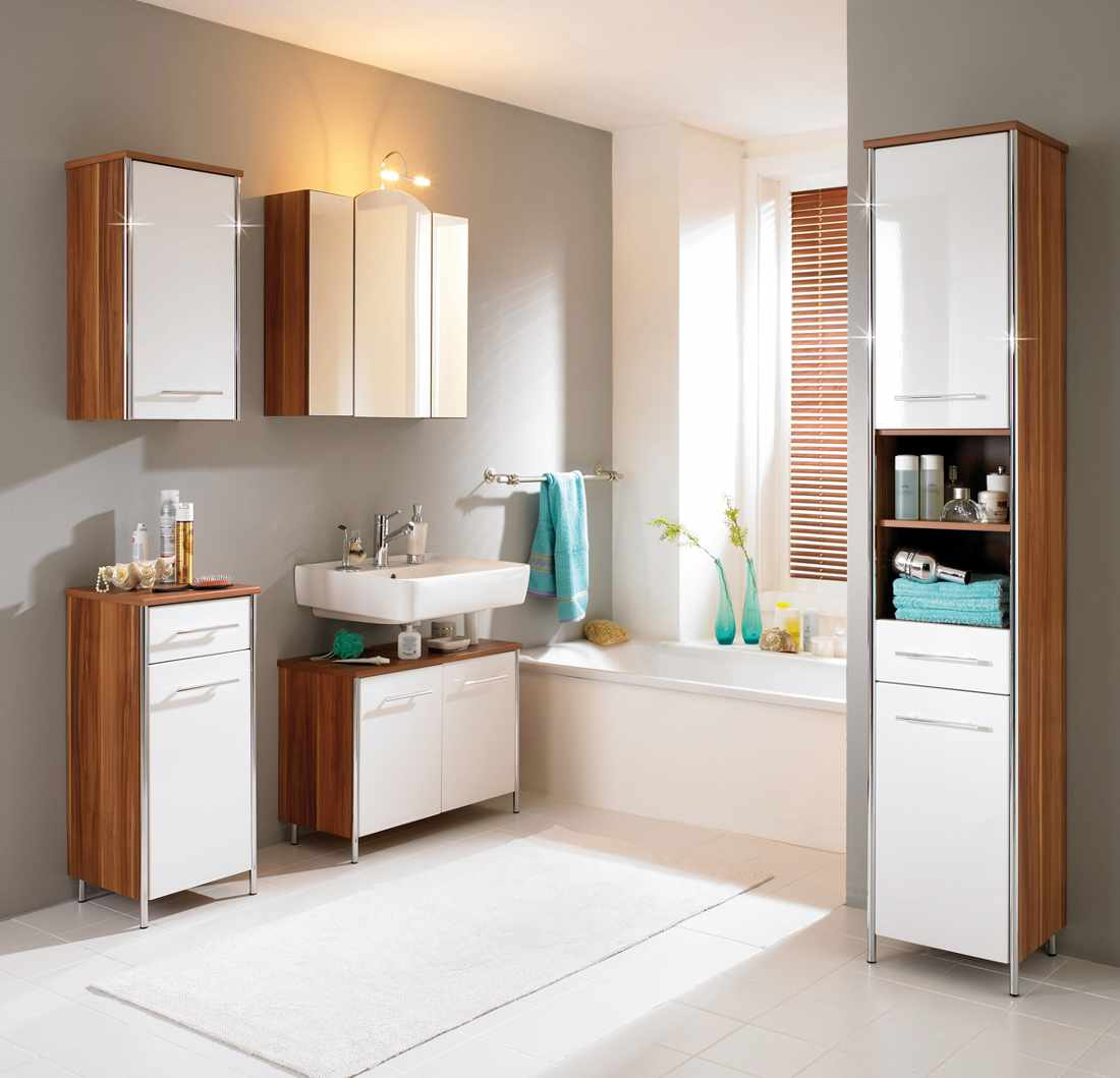 Skandinavian Ikea Bath Cabinet Design In Beige And White Color With  Floating Sink And Wall Storage