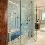 Sleek Frameless Glass Enclosed Showers Modern Granite Bathroom Brown Wooden Bathroom Closet