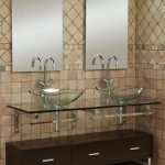 small bathroom vanities with vessel sinks in modern design with glass mount shelf and stylish sink plus double mirrors on tiling wall