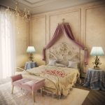 small soft pink bed bench classic elegant bedroom elegant bedframe soft cushions and bedsheet elegant unique table lamps soft flower motive carpet antique hanging lamp