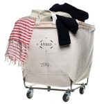 small steele laundry carts on wheels with canvas bags 2bu