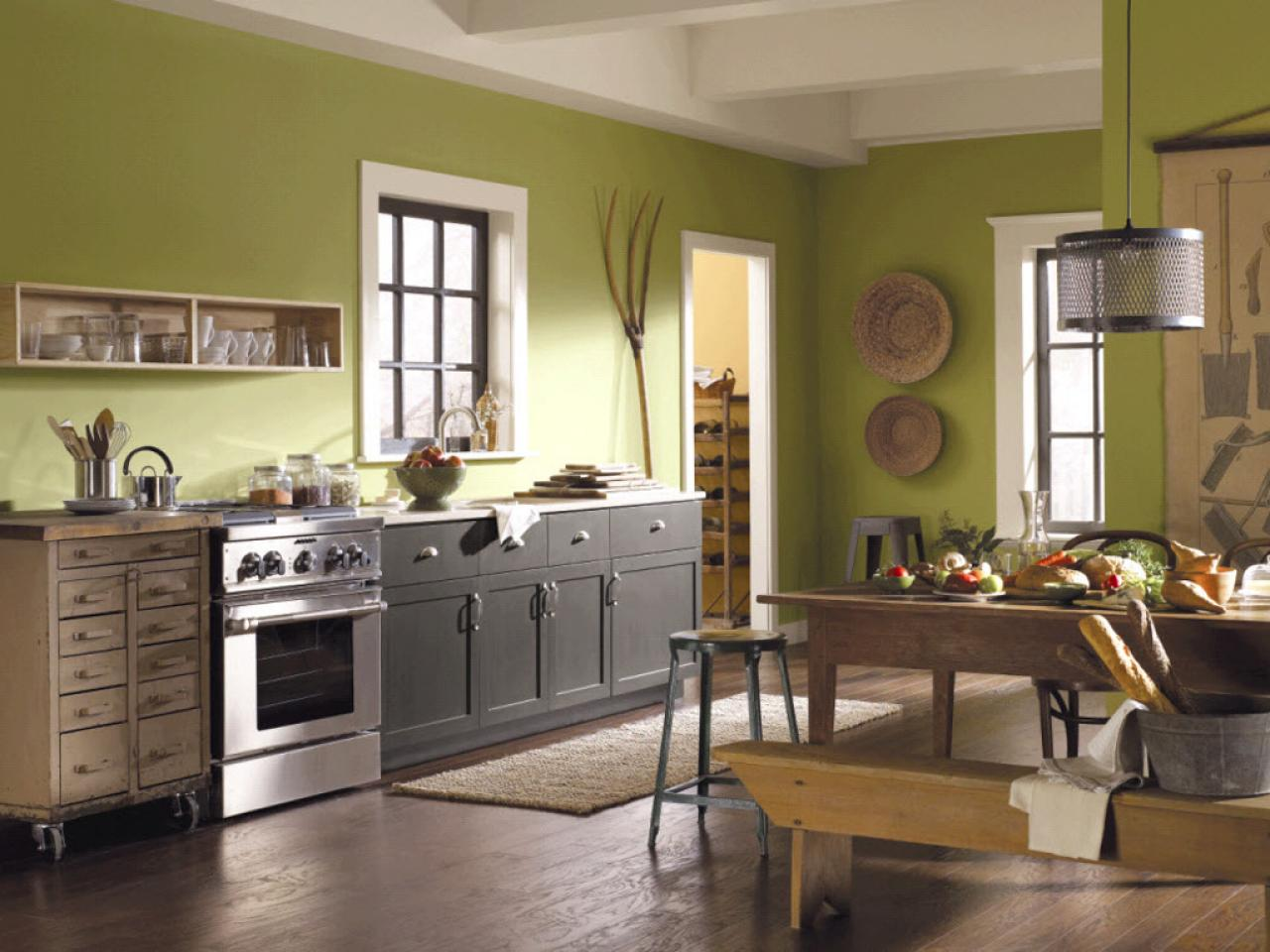 Smooth Green Paint Color For Kitchen Design With Wall Art And Storage Gray Cabinet