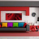 Sofa Pillows Rug Clock Lamp Vases Flower