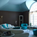 sofas pillows table lamp curtains