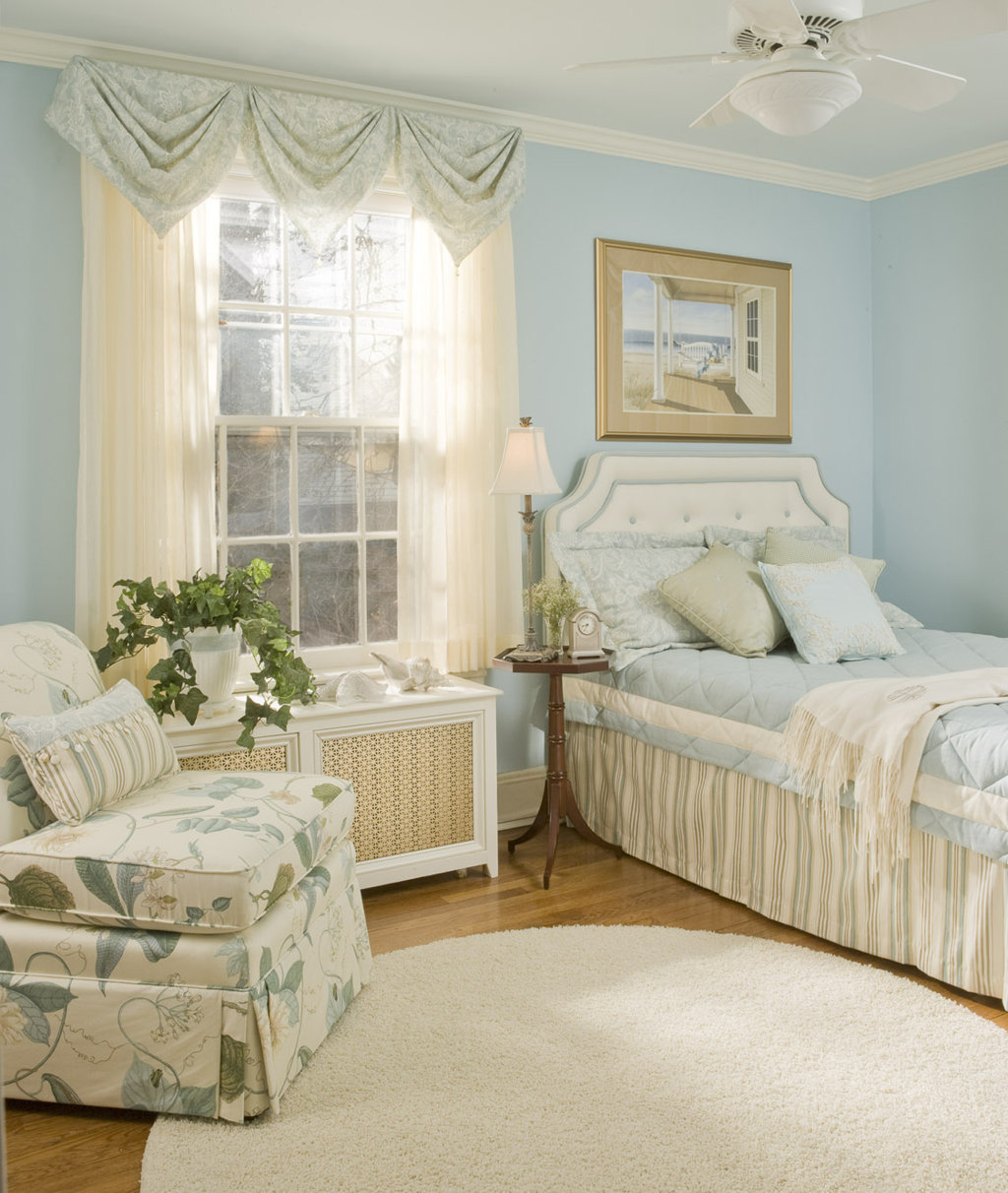 Soft Blue Arch Treatment For Boring Small Window Bedroom Macthed With Soft  Blue Walls And Blue