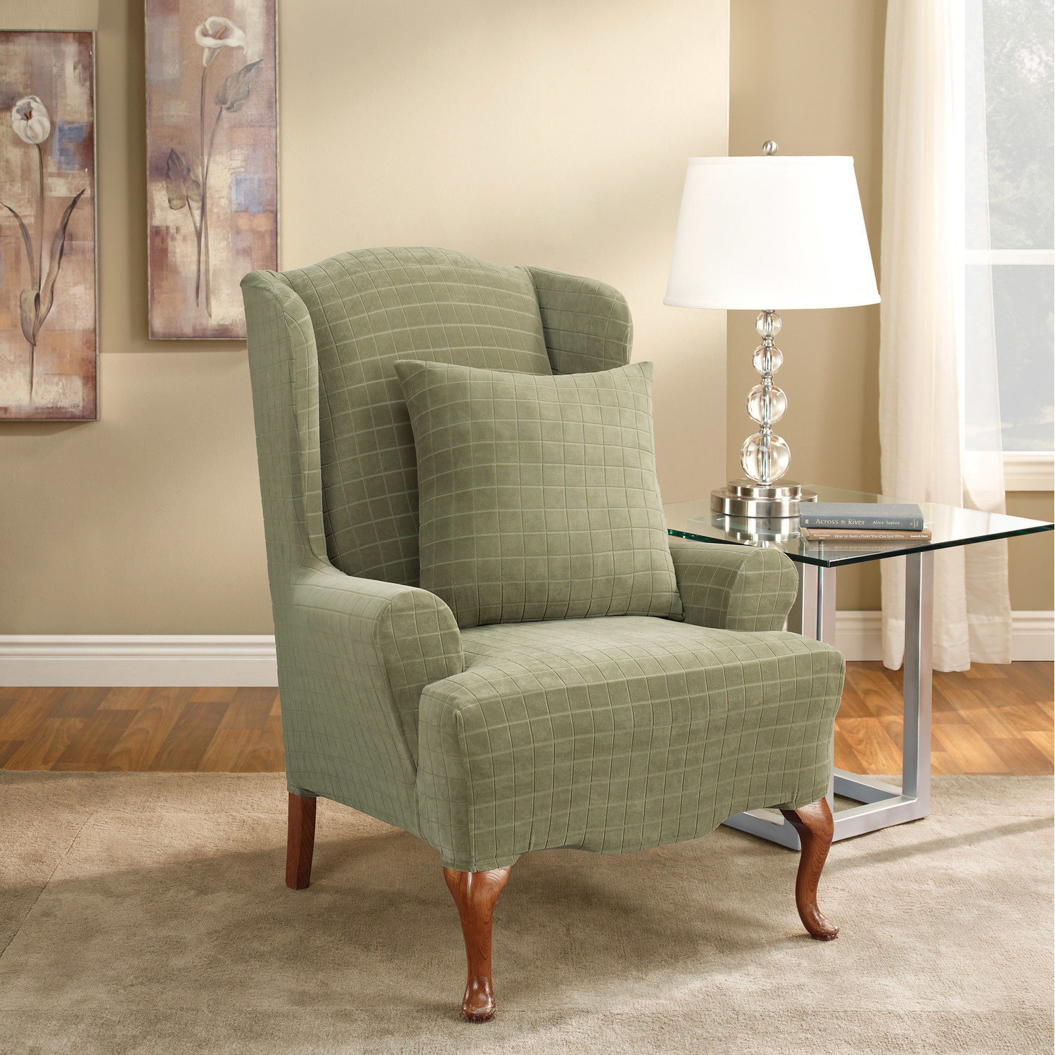 Soft Gree Wingback Chair Slipcover Design With Cushion And Glass Side Table  And White Crystal Table