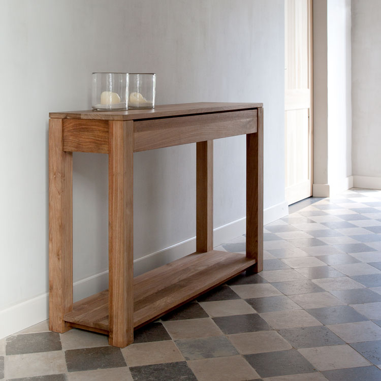 Slim Console Tables That Will Add the Sophistication of  : solid wood slim console table decorated with tile flooring and white painted wall from homesfeed.com size 750 x 750 jpeg 68kB