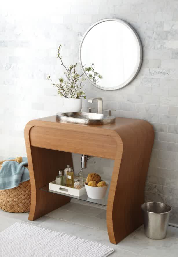 Small bathroom vanities with vessel sinks to create cool for Small bathroom basin cabinets