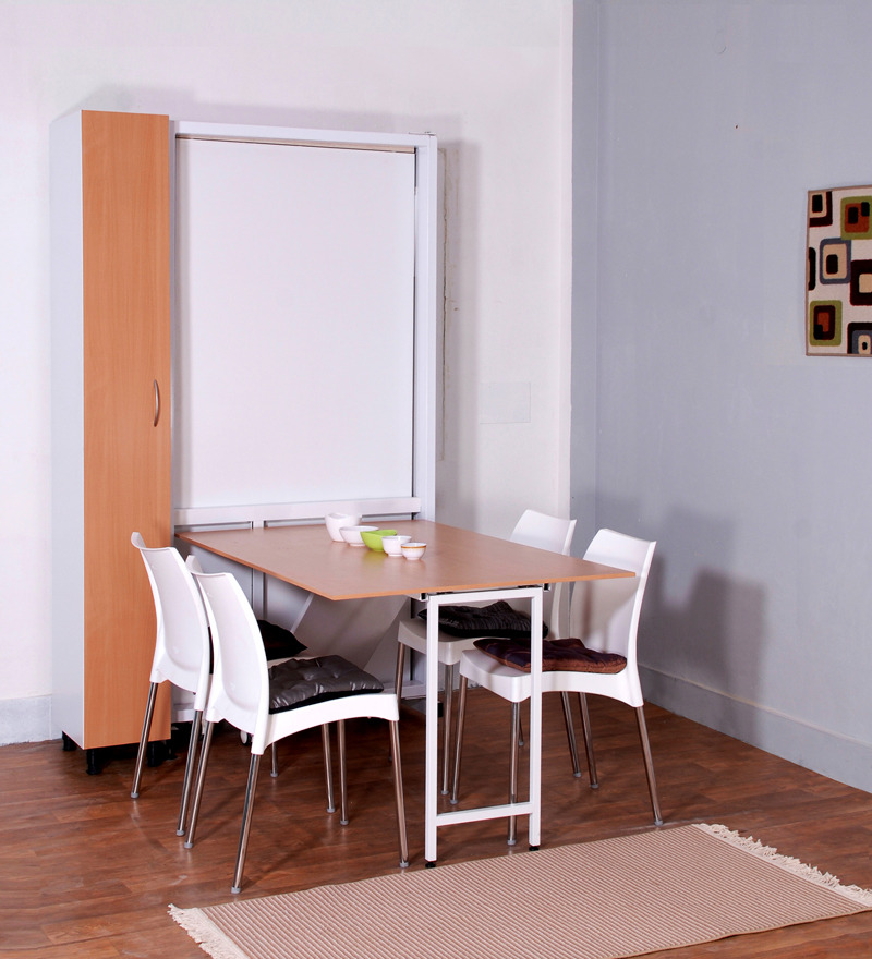 Sophisticated Space Saver Dining Set With Rectangular Dining Table With  Wooden Top And Stylish White Chair