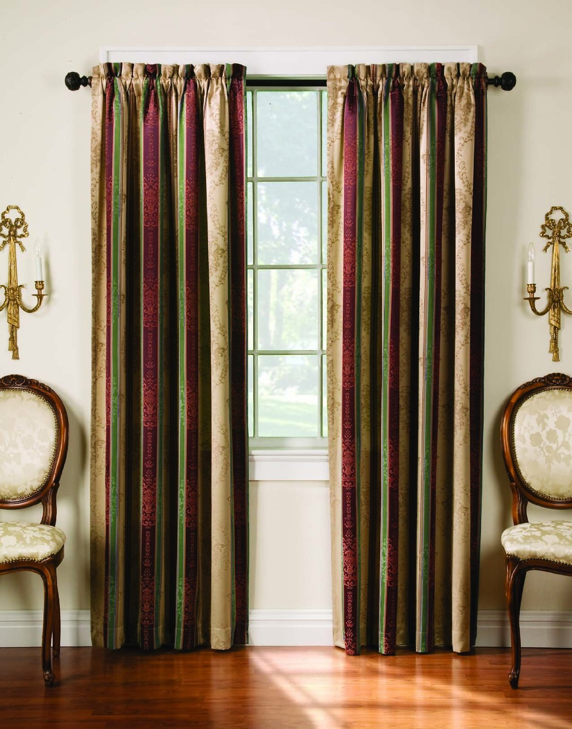 Sound Reducing Curtains In Tuscan Decorated Withfy Chairs And Candle  Holder On Wall And Wooden