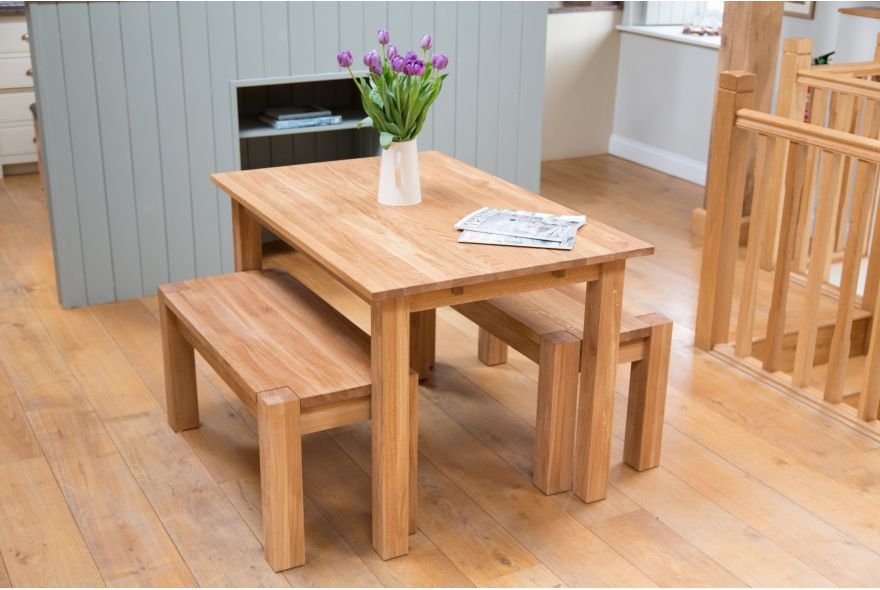 Marvelous Space Saver Dining Set In Oak And Bench Set Adorned With Pretty Vase And  Flower Plus