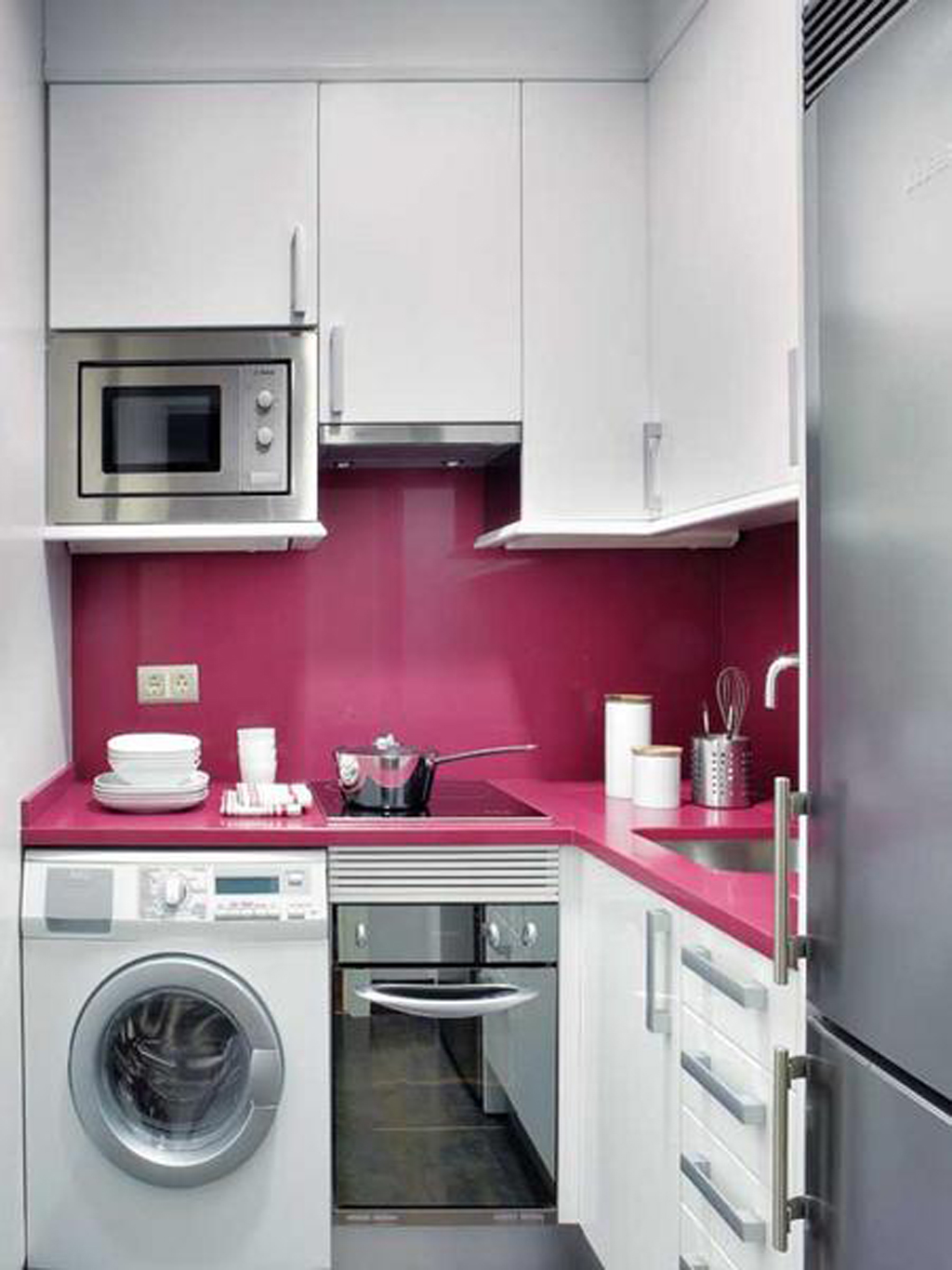 Uncategorized Space Saver Kitchen Appliances space saver microwave for compact and functional kitchen ideas small spaces with white cabinets pink countertops wall