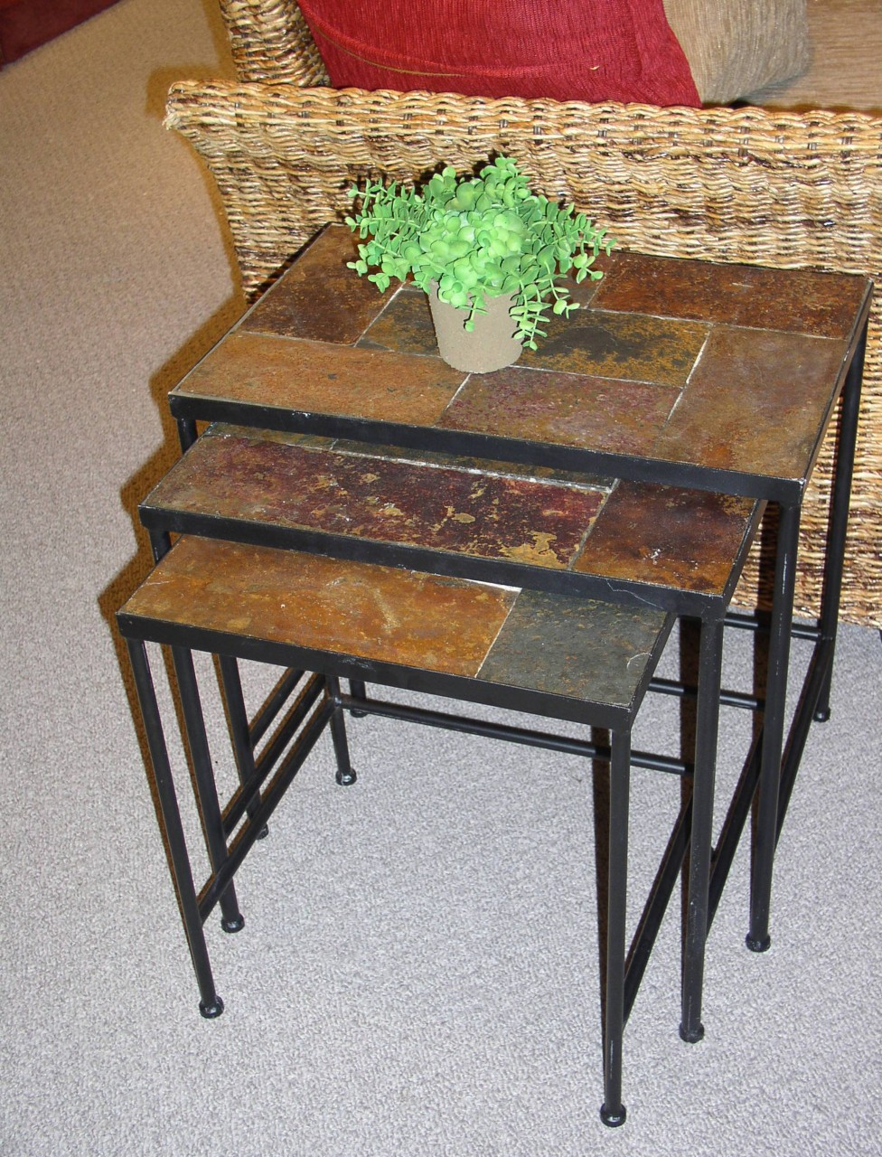 Space Saving Stepping Slate End Tables With Natural Slate Tilling Plus  Black Metal Leg Plus Greenery