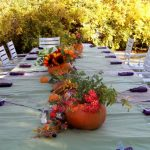 spacious dining set design for outdoor thanksgiving decoration with simple pumpkin centerpiece