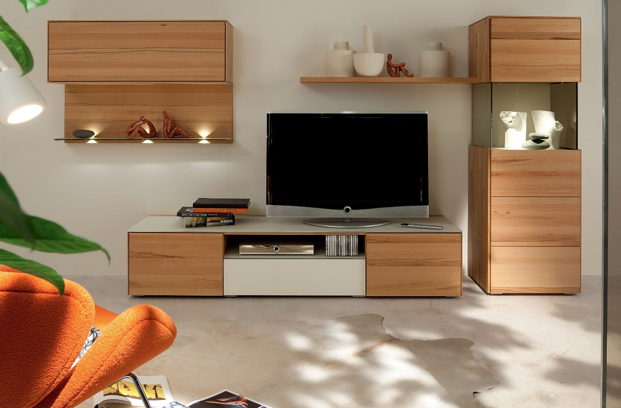 ious room design with beige wooden idea for tv stand with rack on white floor beneath