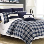 square design comforter decorative pattern blue and white