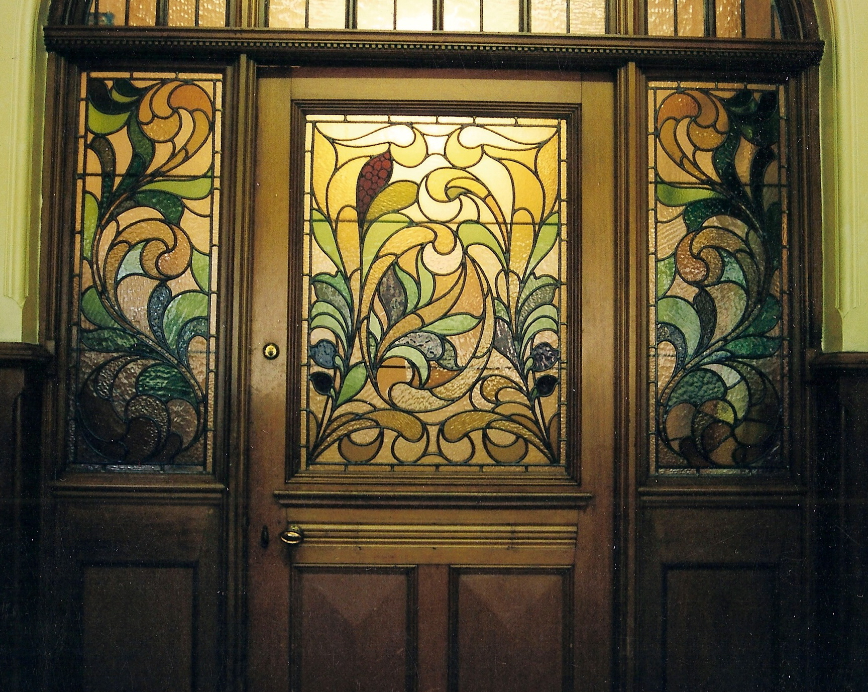 1377 #BCA50F Stained Glass Door With Stained Glass Side Windows With Floral Pattern wallpaper Stained Glass Front Doors 40151728