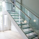 stairs handrails lamp glass wood floor wall window ceiling