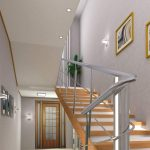 stairs handrails lamps wood pictures door wall