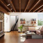 Stairs Shelfs Sofas Fireplace Rug Table