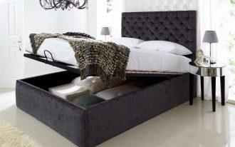 storage bed pillows bedsheet table lamp door window