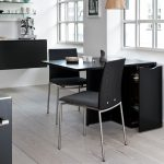 stunning black space saver dining set with rectangular table plus storage combined with simple black chair with steel leg plus wall mount shelf plus classic white wooden floor