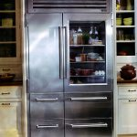 stunning gray stainless steel glass front refrigerator for home  design with double doors and four storage aside white cabinetry