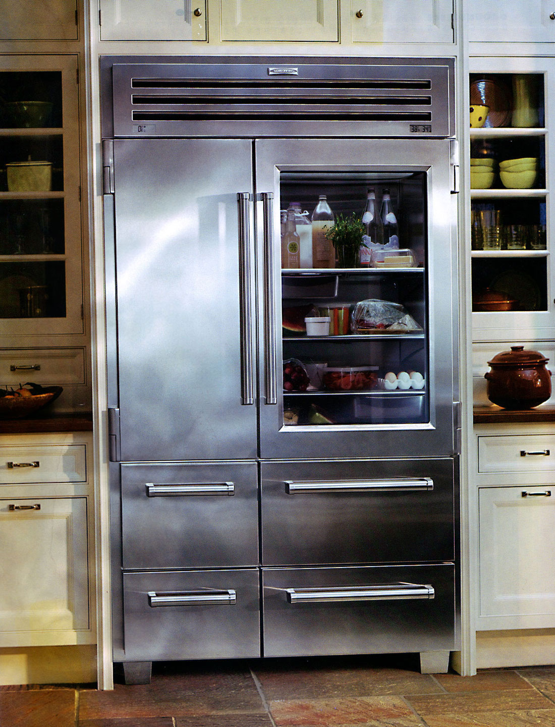 1441 #67482E Glass Front Refrigerator For Home Showcasing Shop Style In Private  save image Stainless Steel Front Doors For Homes 47671100