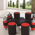 stunning open plan interior design with unique glass coffee table design with round red black stools surrouding