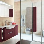 stunning purple ikea bath cabinet design with sliding glass door and rectangle wall mirror and black runner rug