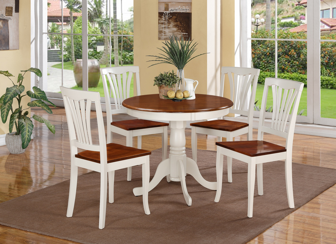 Round kitchen table set for 4 a complete design for small for Small white dining room sets