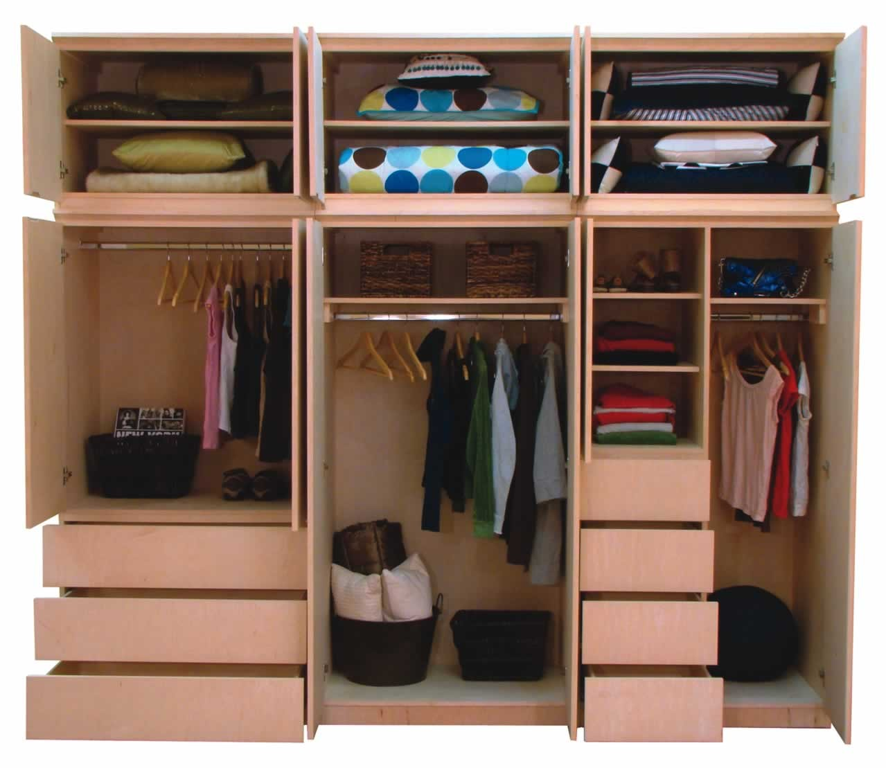 Stunning Wooden Closet Organizer For Small Closet With Pillows Hangers And  Drawers And Small Drawers