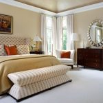 Stylish And Sleek Benches For End Of Bed For Modern Mature Clean Bedroom With Beige Color Scheme