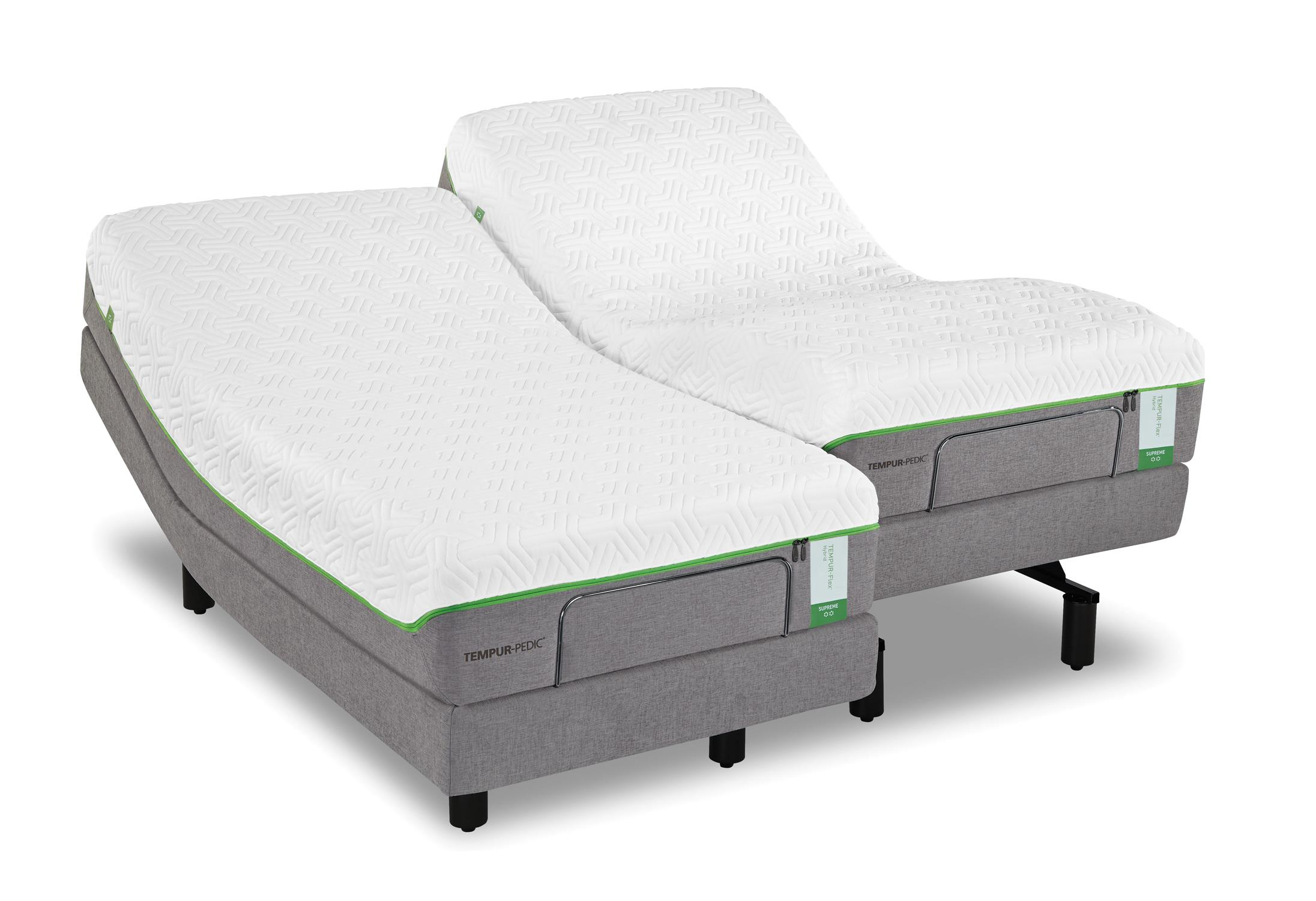 Stylish White Gray Tempurpedic Adjustable Base Design With Black Metal  Beamds