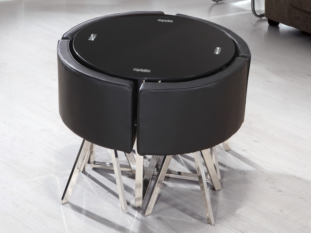 Round space saver table and chairs design decoration for Round dining table and chairs